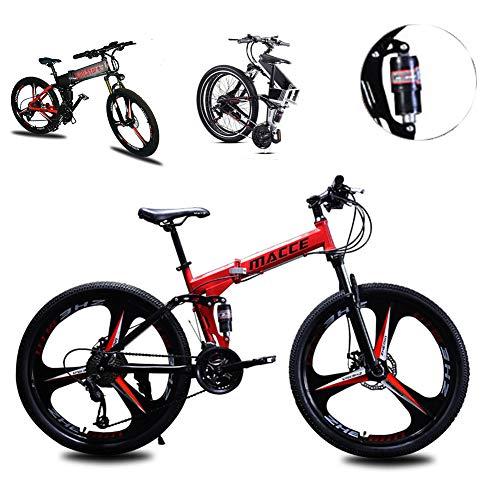 Mountain Bike per donne degli uomini, pieghevole in alluminio leggero completa sospensione Telaio della bicicletta, il 21/24/27 Velocità, tre rotelle Cruiser doppio freno a disco,Rosso,26inch 21speed