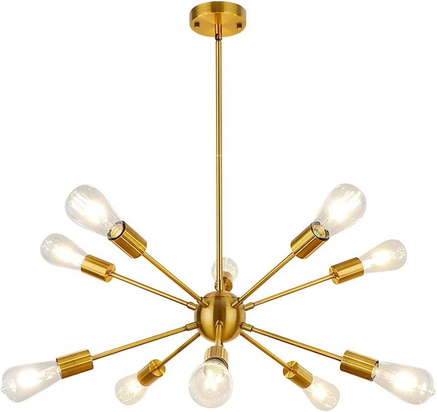 WBinDX 10-Light Sputnik Chandeliers Brass Modern Ceiling Light Fixture Gold Industrial Vintage Pendant Lighting for Living Room Dining Room Kitchen Foyer Bedroom