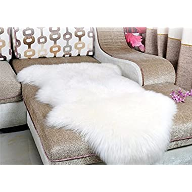 Dikoaina Classic Soft Faux Sheepskin Chair Cover Couch Stool Seat Shaggy Area Rugs For Bedroom Sofa Floor Ivory Fur Rug White 2ft x 3ft (2ft x3ft)