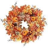 50 Cm Ghirlanda Artificiale Foglie di Acero Ghirlanda di Fiori di Zucca Autunno Halloween Giorno del Ringraziamento Decorazione da Appendere alla Parete della Porta D'ingresso
