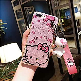 Maxlight for iPhone Xs Max XR Kitty Case Bling Hello Kitty Cover for iPhone 7 8 Plus X Phone Cover + Toy Stander +Strap (Style 3, for iPhone X XS)