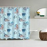 Ozeanthema blauer Stoff Duschvorhang Qualle Wal Conch Seastar Blau Meer Welt Ozean Home Decor maschinenwaschbar Duschvorhang Badezimmer Dekor Badvorhang 182,9 x 182,9 cm