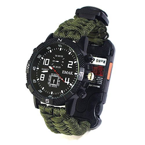 Tentock Multifunktionale Survival Bracelet Watch, Paracord-Uhr im Freien All-in-One for Camping Trekking(armeegrün)