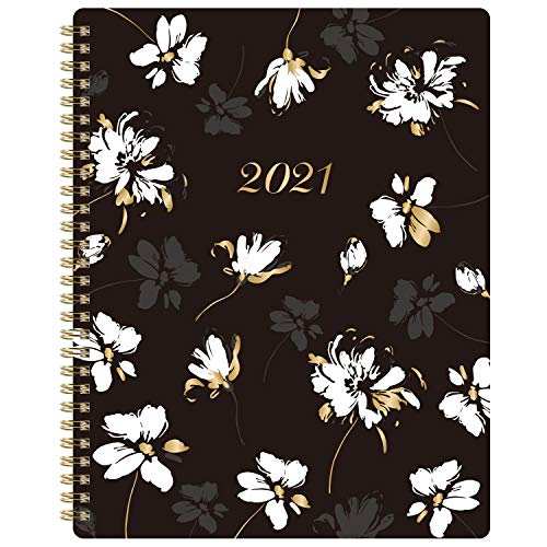 2021 Planner - Weekly & Monthly Planner with Inner Pocket 8' x 10', Jan to Dec, Flexible Cover, Monthly Tabs, 21 Extra Pages,Twin-Wire Binding,