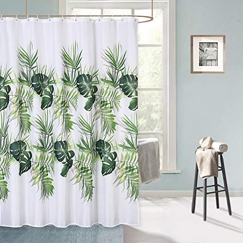 LinTimes Tropischer Palmenblätter Duschvorhang, Dschungel Grüne Blätter Grüne Pflanze Lebendigen Farben Duschvorhänge für Badezimmer, Duschvorhänge aus wasserdichtem Stoff mit 12 Haken, 180 x 180 cm