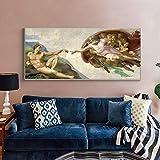 Fresco de techo de la Capilla Sixtina de Miguel Ángel creación de Adán pintura al óleo lienzo carteles impresiones Cuadros imágenes sala de estar 40x80 CM (sin marco)