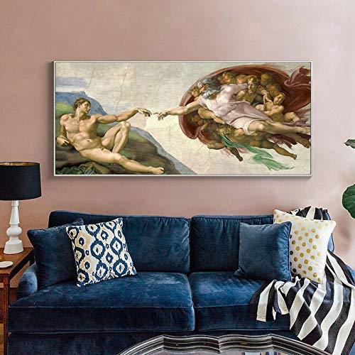 Sixtinische Kapelle Deckenfresko von Michelangelo Schaffung von Adam Ölgemälde Leinwand Poster Drucke Cuadros Bilder Wohnzimmer 35x70 CM (Kein Rahmen)