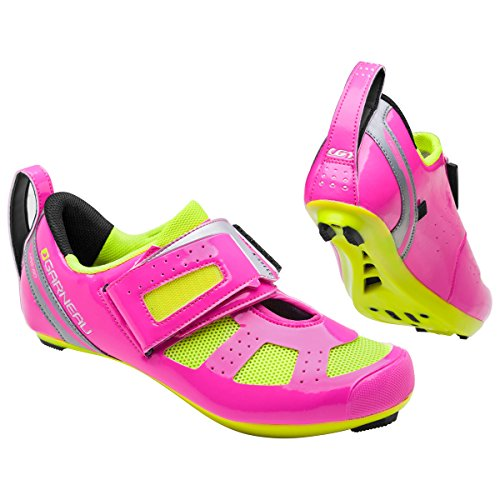 Louis Garneau, Women's Tri X-Speed III Triathlon Cycling Shoes for Racing and Indoor Biking, Compatible with Major Road and SPD Pedals, Pink Glow/Bright Yellow, US (11.5), EU (43)