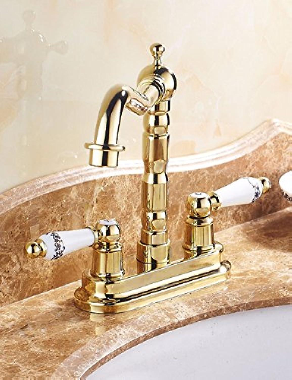 LHbox Die VerGoldeten Lcher Waschbecken Kaltes Wasser Voll Kupfer Tippen Sie auf Das Handwaschbecken Mixer zu Drehen.