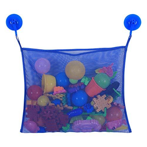 Bascar Badewannen Spielzeug Aufbewahrung Badespielzeug Netz mit 2 Ultra Strong Hooked Saugnäpfe Badenetz für Spielzeug Großes Badespielzeug Aufbewahrung für Kinder Befestigung ohne Bohren (Blau)