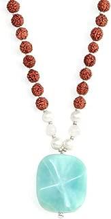 Tiny Devotions Amazonite Pendant 108 Mala Bead Necklace - Amazonite, Rose Quartz, Freshwater Pearl