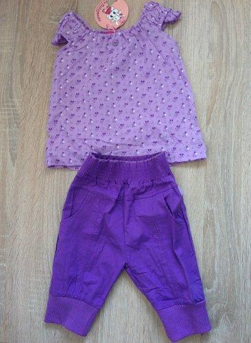 Kleding kinderen baby - 2-delige set - blouse met bloemen + broek, violet - 30 maanden