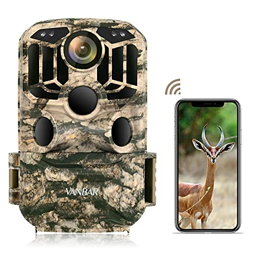 VANBAR Wildlife Camera WiFi 1296P 24MP, Hunting Trail Camera with Night Vision Motion Activated IP66 Waterproof and 120°Wide-Angle for Hunting Games, Wildlife Monitoring and Home Security