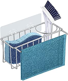 Adhesive Stainless Steel Sponge Holder + Brush Holder + Dish Cloth Hanger, 3-in-1 Kitchen Sink Caddy, Rust Proof Water Pro...