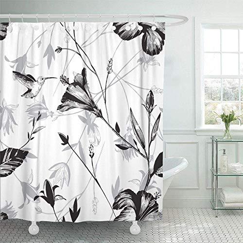 QAQ Starry Sky Douchegordijn Groene Abstract Colibri-Bloemenhibiscus Plant Patroon Dierschoonheidsvogel-Exotische bloemen-Decoratieve badkamer