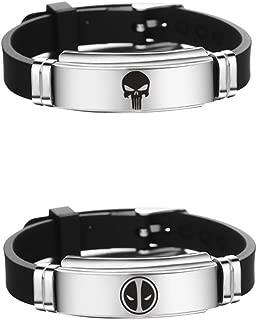 Supehero Cosplay Logo Fans Stainless Steel Adjustable Size Wristband Bracelet 2 PCS