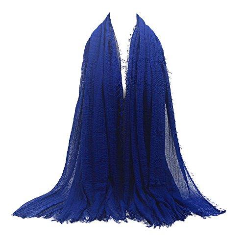 UJUNAOR Baumwolle Leinen Schal Muslim Solide Damen Islamischen Hanfstoff Kopftuch Kopfbedeckungen 180 * 90CM(N,One size)