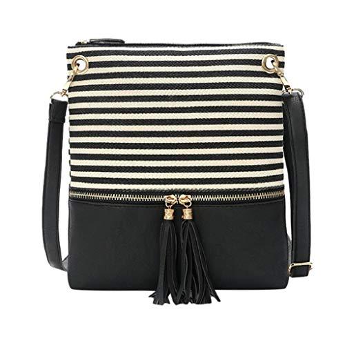 SSUPLYMY Frauen Umhängetasche 2019 New Stripe Stitching Umhängetasche Einfache Quaste Messenger Bag Shopper Handtasche Crossbody Tasche Schulter Quaste Kleine Quadratische Packung