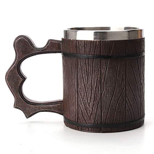 HANBING Creativa Simulación de Barril de Madera Doble Taza de Resina de Acero Inoxidable Taza de Cerveza Taza de Café Copa de Vino Decoraciones Regalos Adecuado para Casa/Fiesta/Bar