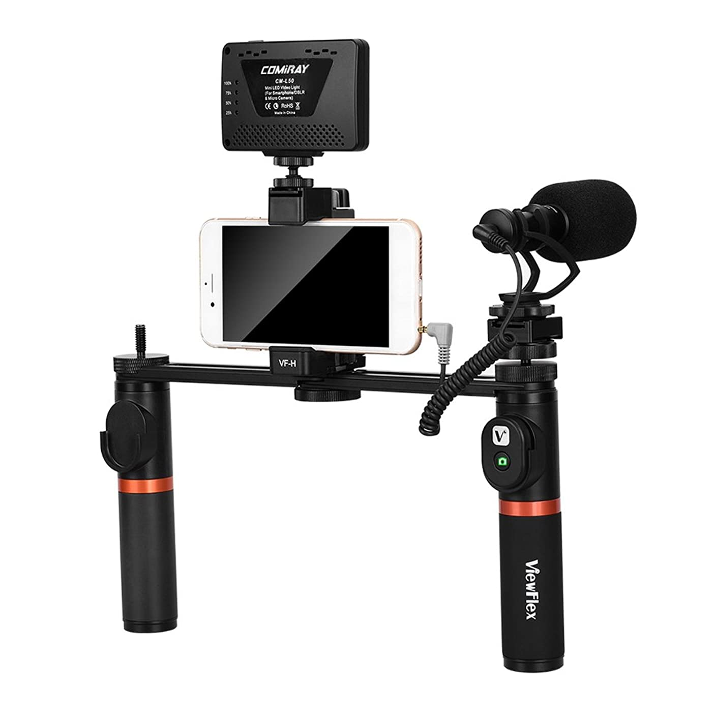 TPOTOO ViewFlex VF-H7 Smartphone Video Rig Dual Handheld Metal Grip Stabilizer Kit with Remote Control/Dimmable LED Light/Microphone for iPhone 6 6s Plus for Samsung Galaxy S8+ S8 Note 3 Huawei