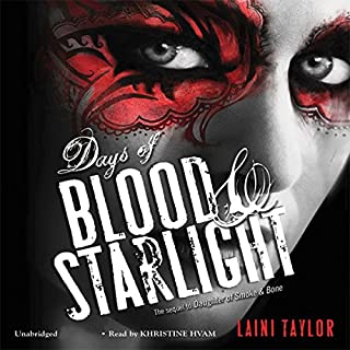 Days of Blood & Starlight                   Written by:                                                                                                                                 Laini Taylor                               Narrated by:                                                                                                                                 Khristine Hvam                      Length: 15 hrs and 21 mins     9 ratings     Overall 4.2