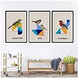 wymhzp Lienzo Arte de la Pared Pintura Chino Resumeno Geometría Colorida Pájaro Tangram Imagen de Animal Habitación en casa Sofá Fondo Decoración Póster 40x50cmx3 Sin Marco