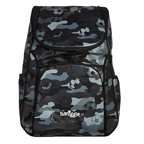 Smiggle Illusion Kids School Backpack for Boys & Girls with Padded Laptop Compartment & Dual Drink Bottle Sleeves |Football Print