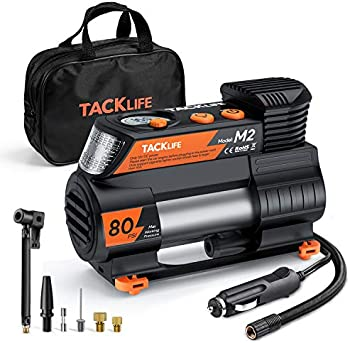 Tacklife M2 12V Portable Air Compressor with Digital Pressure Gauge