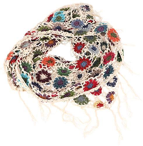 GURU SHOP Häkelstola, Hippie Blümchen Häkelschal, Herren/Damen, Creme, Baumwolle, Size:One Size, Schals Alternative Bekleidung