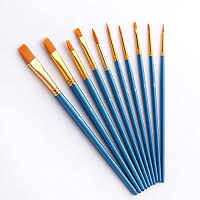 Goozur Paint Brushes Set,1 Pack 10 Pcs Round Pointed Tip Paint Brushes for Acrylic Painting,Acrylic Oil Watercolor,Facial Art,Nail Art,Miniature Detailing and Rock Painting