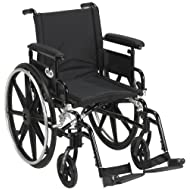 "Drive Medical Viper Plus GT Wheelchair with Flip Back Removable Adjustable Full Arms, Swing Away Footrests, 18"" Seat, Black"