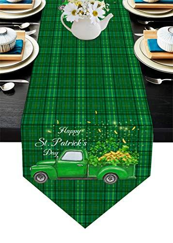 QAZQAZ St Patrick Green Plaid Gold Coin Table Runner para Comedor en casa Mesa de té Zapatero Cubierta del gabinete Bandera de la Mesa Decoración del Banquete de boda-46x183cm