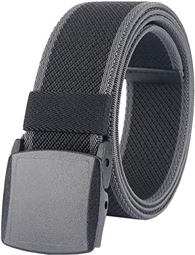 Men's Elastic Stretch Belts,Breathable Canvas Web Belt for Men Women with No-Metal Plastic Buckle for Travel Work Sports,Adjustable Waist Belt for Pants Shorts Jeans [53'Long1.5'Wide](Black & Gray)