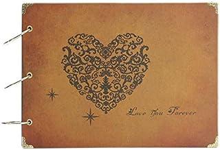 Photo Album,MAMACHU DIY Retro Photo Book Scrapbook Travel Memories Notebook,Wedding Scrapbook Photo Album,Anniversary Mother`s Day Gift,60 Black Pages (Love You Forever)