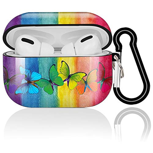 Diidmo Airpods Pro Case Soft Silicone AirPods Pro Skin Case Cover Shockproof Full-Body Protective Case with Keychain Apple Wireless Charging Case Rainbow Butterfly AirPods Accessories Kits- Black