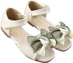 lakiolins Little Girls Bowknot Patent Leather Open Toe Sandals Summer Princess Flats Shoes