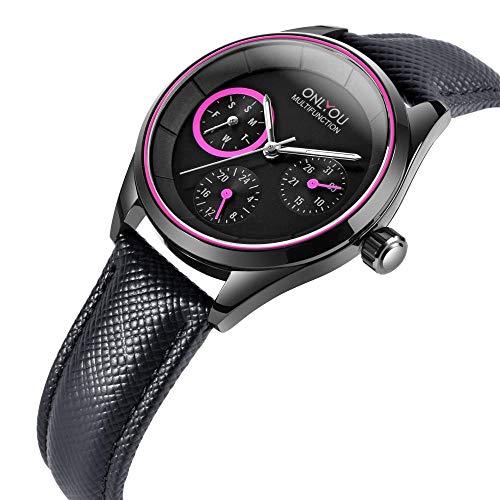 Relojes De Pulsera,Reloj Multifuncional para Pareja, Reloj De Cuarzo Resistente Al Agua, Concha Negra, Púrpura, Rojo, Mujer