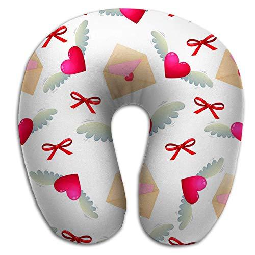 Almohada en Forma de U Cuello Almohada Multifuncional Corazón Amor Lette Iconos de Letras de San Valentín Dibujos Animados Coloridos Saludo del día de San Valentín Soñador