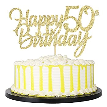 PALASASA Gold Happy Birthday cake topper - Hello 50 Cheers to 50 Years 50 Anniversary/Birthday Cake Topper Party Decoration  50th