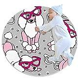 Alfombra redonda con diseño de caniche con gafas, color rosa, negro y blanco