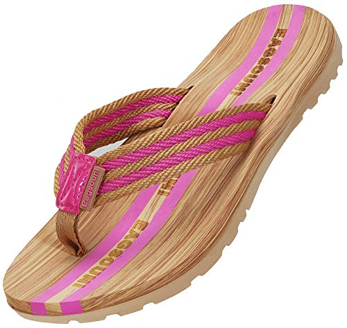 Damen Herren Zehentrenner Sommer Flip Flops Badelatschen Hausschuhe Pantoletten, Pink, 36 EU
