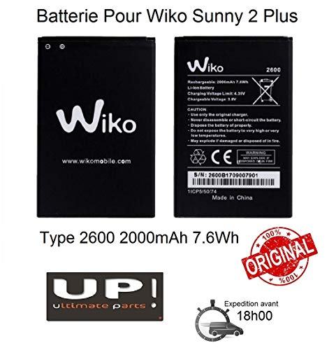 UP! Batería para Wiko Sunny 2 Plus 100% original tipo 2600 2000 mAh
