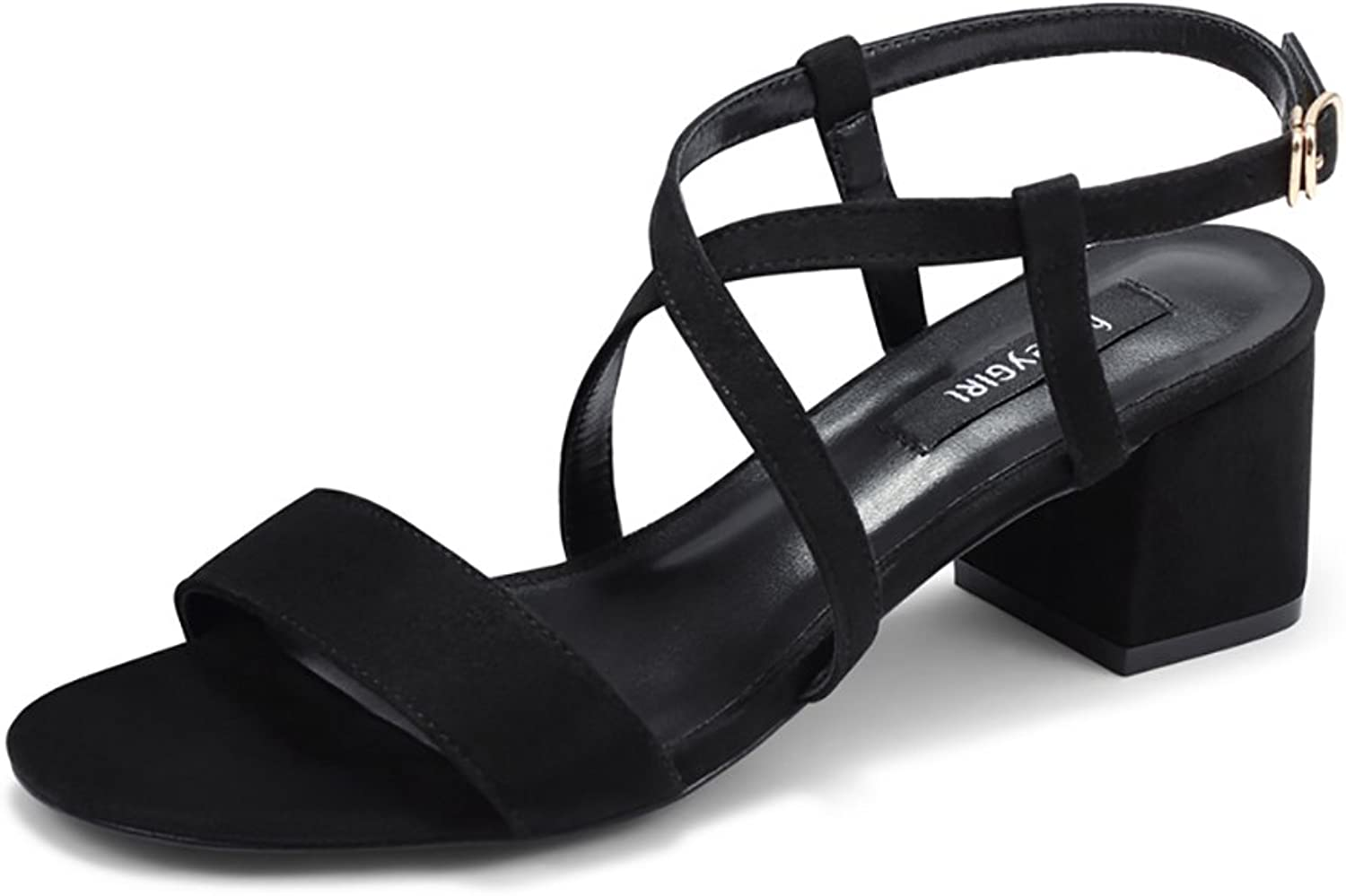 Ankle Straps High Heels Ladies Elegant Roman Sandals (color   Black, Size   36)