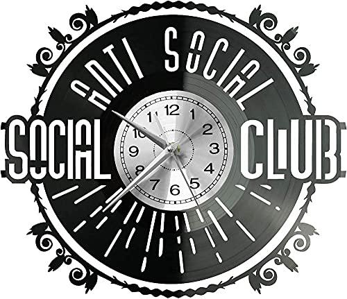 hhhjjj Anti-Social Social Club Orologio da Parete Disco in Vinile Orologio retrò Orologio Alto Stile Camera Decorazione della casa Grande Orologio Regalo Anti-Social Club Sociale
