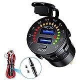 Auto Schnellladegerät QC 3.0 Dual USB Steckdose Autoladegerät Farbe Digital Voltmeter ON/OFF Schalter 12V/24V für Autos Yachten LKW Motorräder