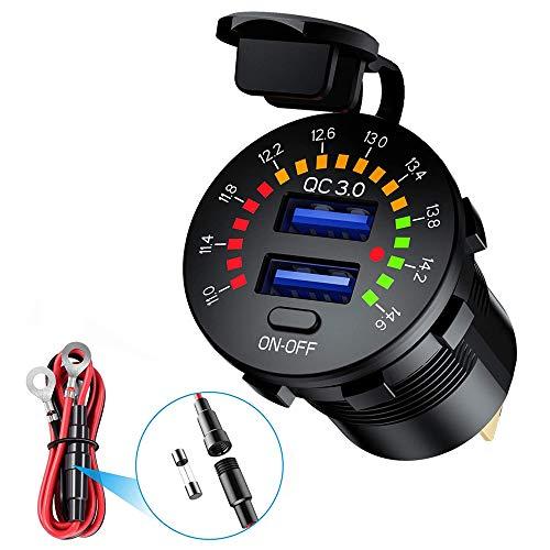 Auto QC3.0 USB Ladegerät 12 / 24V Wasserdicht KFZ Steckdose Dual USB Ladeports Schnellladung mit Schalter & LED Digital Farbvoltmeter für Motorrad Marine ATV Bus