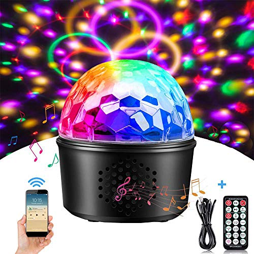 Bluetooth Disco Party Lights Sound Activated Ball Music Speaker with Remote Control 16 Modes Best for Parties Birthday DJ Bar Karaoke Xmas Wedding Show Club Pub Gift(Built in Battery)