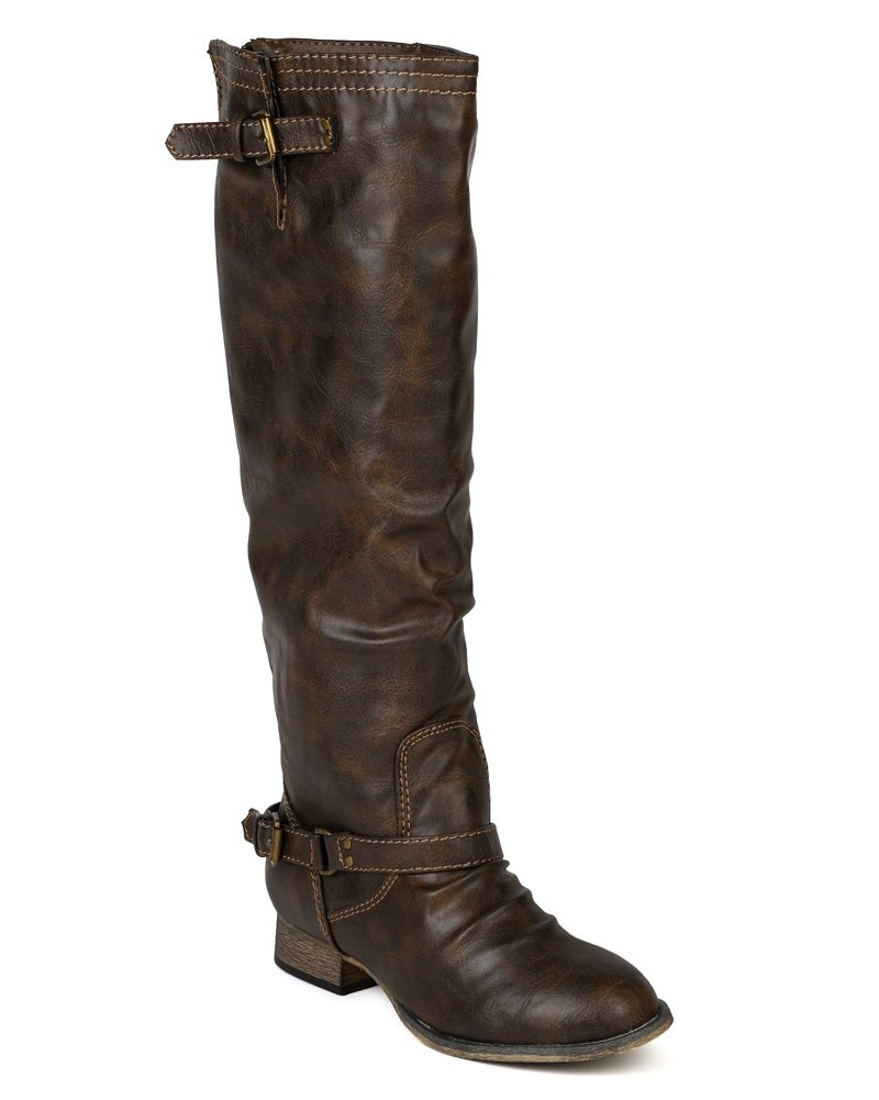 Breckelle's Women Leatherette Buckle Riding Knee High Boot AE76