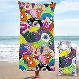 Lsjuee - Toalla de Playa de Microfibra de diseño novedoso con Patrones extraños, compacta, de Secado rápido, súper Absorbente, Liviana, Multiusos