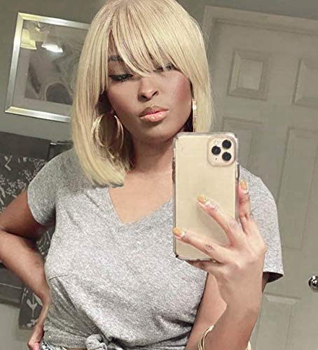 Annivia Platinum Blonde Short Wig for White Women 12'' Quality Cosplay Blonde Wig Natural As Real Human Hair Heat Resistant Synthetic Short Bob Wigs with Bangs (Blonde) …